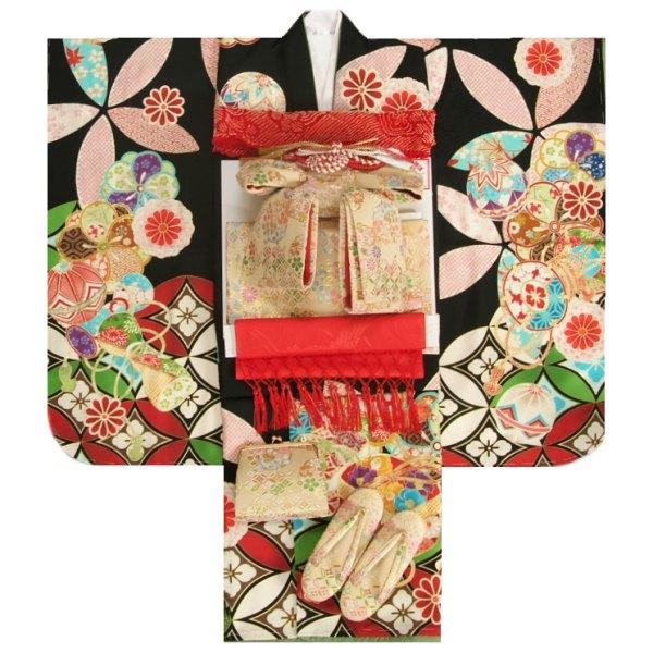 七五三 着物 7歳 今ダケ送料無料 女の子 フルセット ブランド 購入 黒色 日本橋HAIBARA 往復送料無料 七宝 足袋に腰紐など20点セット ベージュ金襴柄帯セット 着物フルセット