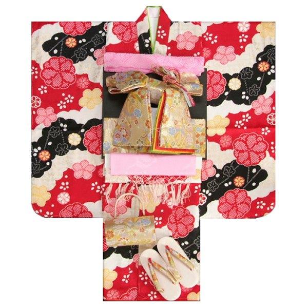 七五三 着物 7歳正絹着物フルセット 式部浪漫ブランド 赤 黒 疋田桜 金彩 金襴地重ね仕立て帯セット 足袋に腰紐など20点セット 日本製