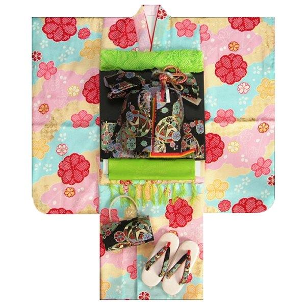 七五三 着物 7歳正絹着物フルセット 式部浪漫ブランド 三色ぼかし染め 疋田桜 金彩 黒地重ね仕立て帯セット 足袋に腰紐など20点セット 日本製