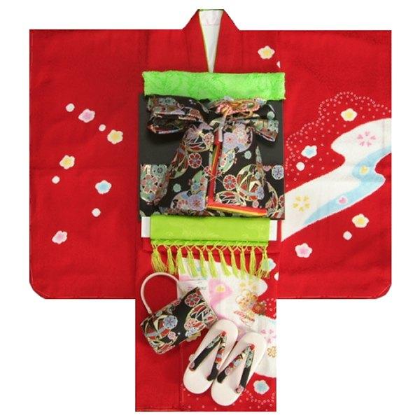 七五三 着物 7歳正絹着物フルセット 赤 本絞り 刺繍まり桜 金彩 黒地重ね仕立て帯セット 足袋に腰紐など20点セット 日本製