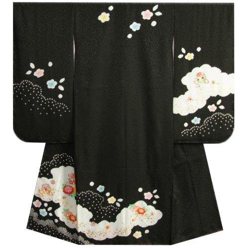 七五三着物7歳 正絹 女の子四つ身着物 黒色 本絞り 牡丹刺繍使い 日本製