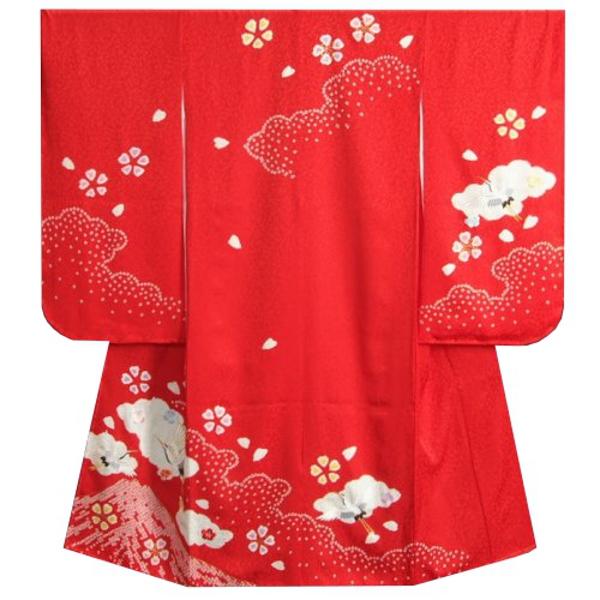 七五三着物7歳 正絹 女の子四つ身着物 赤色 本絞り 金括り富士 飛翔鶴刺繍 日本製