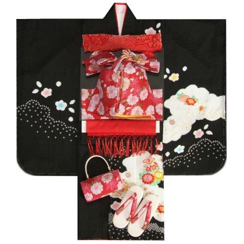 七五三 着物 7歳正絹着物フルセット 黒 本絞り 刺繍牡丹金彩 赤地重ね仕立て帯セット 足袋に腰紐など20点セット 日本製
