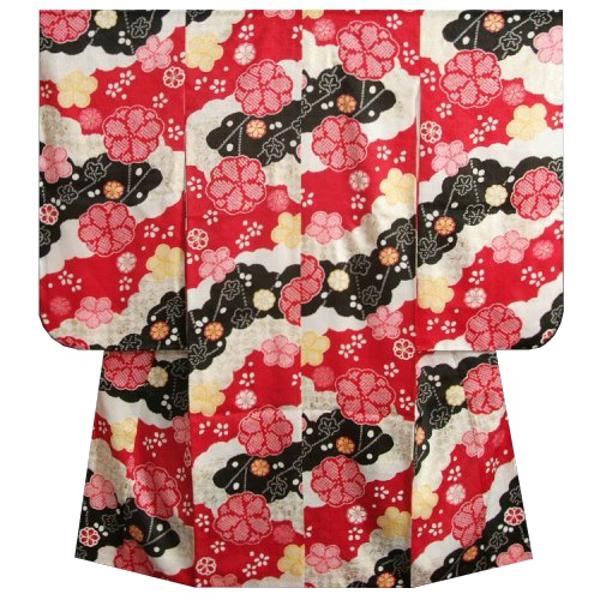七五三着物 7歳 女の子 正絹四つ身着物 式部浪漫 赤 黒 疋田桜 金彩 日本製