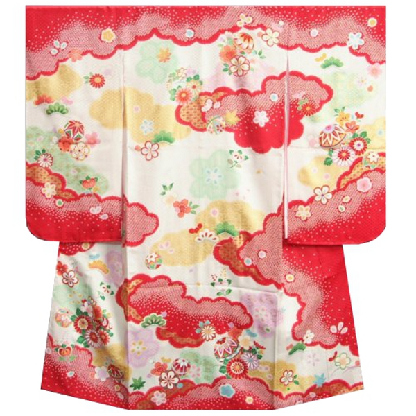 七五三着物 7歳女の子 正絹四つ身着物 赤 疋田 金彩 鹿の子地紋生地 日本製