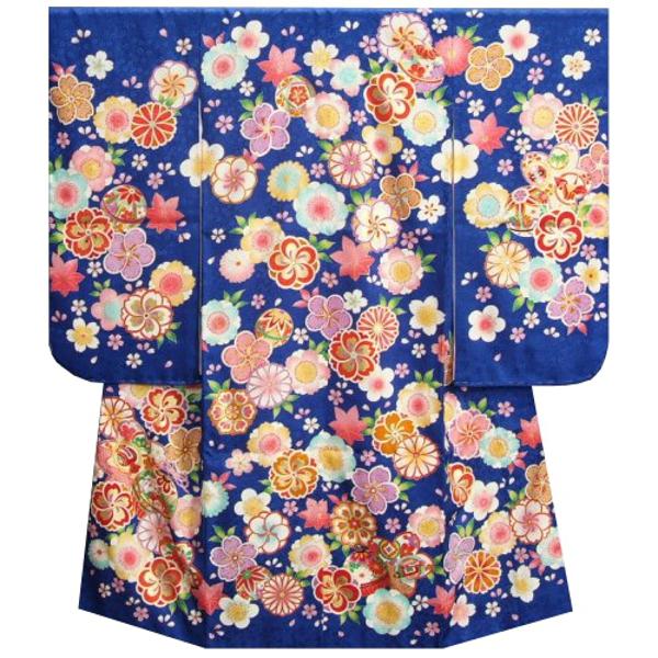 七五三着物7歳 女の子 正絹 四つ身着物 青色地 捻り梅桜 まり 桜地紋 日本製