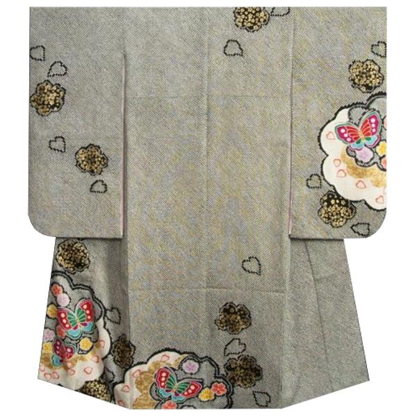 七五三着物7歳 正絹 女の子四つ身着物 黒色 総本絞り 手描き 雪輪蝶文様 金彩使い 日本製