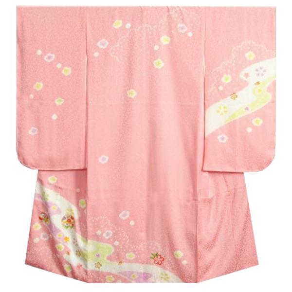 七五三着物7歳 正絹 女の子四つ身着物 ピンク色 本絞り まり刺繍使い 日本製