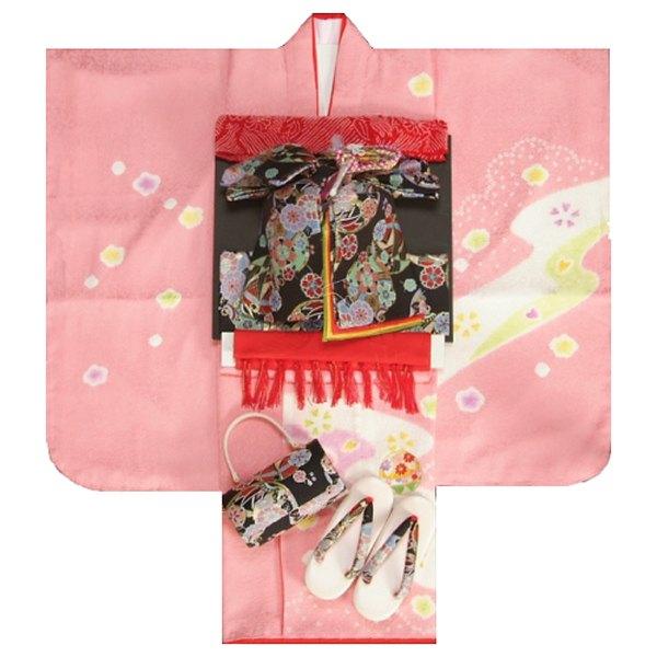 七五三 着物 7歳正絹着物フルセット ピンク 本絞り 刺繍まり桜 金彩 黒地重ね仕立て帯セット 足袋に腰紐など20点セット 日本製