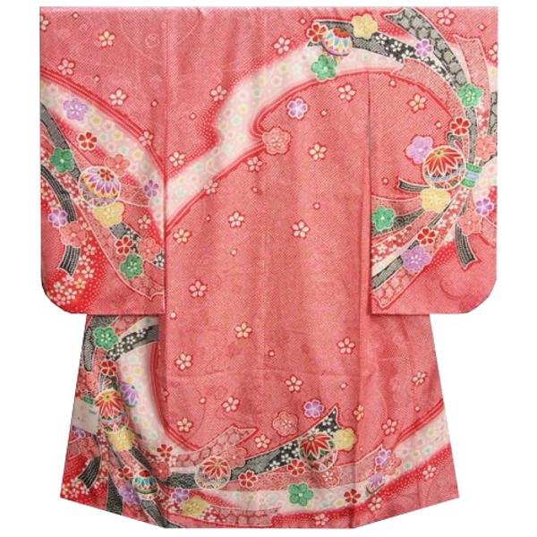 七五三着物7歳 女の子 正絹 四つ身着物 赤色総疋田柄 まり 束ね熨斗 桜地紋生地