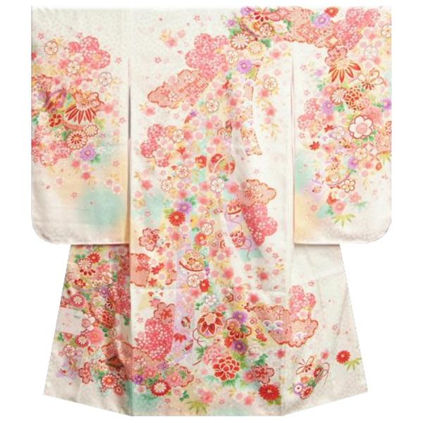 七五三着物 七歳女の子四つ身 正絹着物 白色三色ぼかし染め分け 雲取り 鈴 日本製