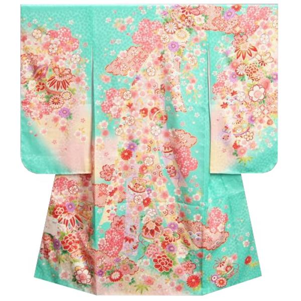 七五三着物 七歳女の子四つ身 正絹着物 エメラルドグリーン色ぼかし染め分け 雲取り まり 日本製