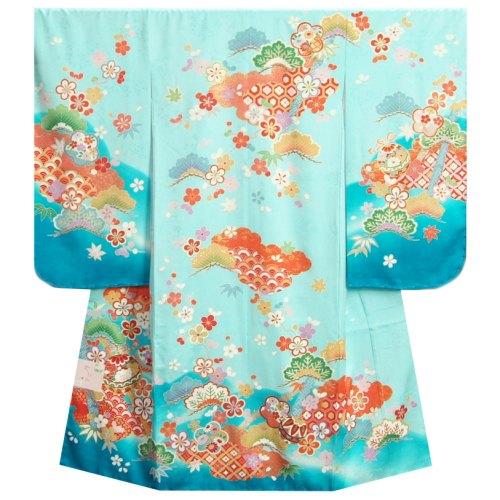 七五三着物7歳 正絹 女の子四つ身着物 濃淡水色染め分け 松竹梅 金コマ刺繍使い 日本製