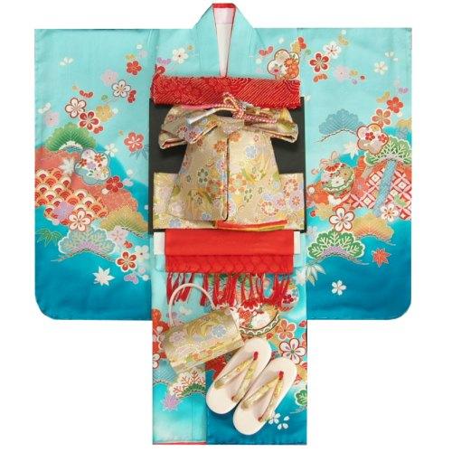七五三 着物 7歳正絹着物フルセット 濃淡ぼかし水色染め分け 金コマ刺繍 金襴地重ね仕立て帯セット 足袋に腰紐など20点セット 日本製