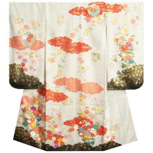 七五三着物7歳 正絹 女の子四つ身着物 正絹手描き白色地着物 華百選 金彩雲取 日本製