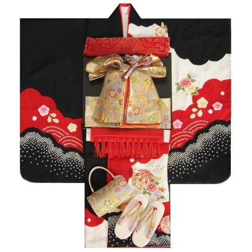 七五三 着物 7歳着物フルセット 赤地色黒染め分け着物 正絹本絞り 刺繍使い 金襴重ね仕立て友禅帯セット 足袋に腰紐など21点セット 日本製