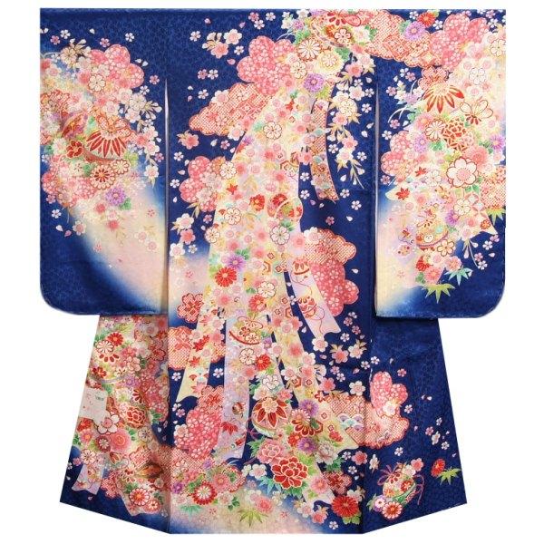 七五三着物7歳 女の子 正絹 四つ身着物 青色地 桜 鈴 流れ熨斗 桜地紋生地 日本製
