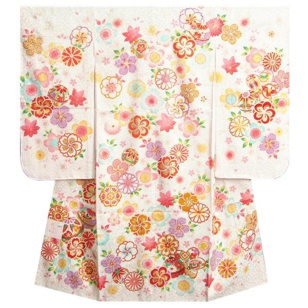 七五三着物 七歳女の子四つ身 正絹着物 白色 捻り梅 四季桜 金コマ刺繍使い 日本製