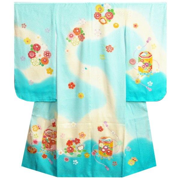 七五三着物7歳 正絹 女の子四つ身着物 濃淡水色ベージュぼかし 手染め 手描き 金コマ刺繍使い 日本製