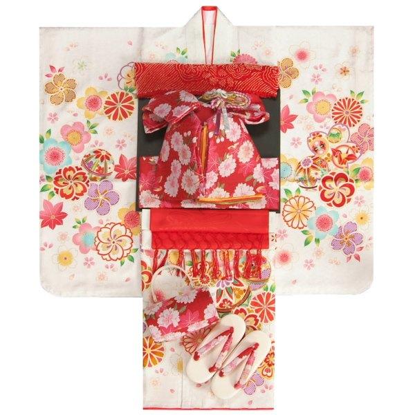 七五三 着物 7歳正絹着物フルセット 白 捻り梅 四季桜 金コマ刺繍金彩使い 赤色重ね仕立て帯セット 足袋に腰紐など20点セット 日本製