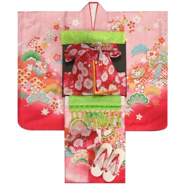 七五三 着物 7歳正絹着物フルセット 濃淡ぼかしピンク色染め分け 金コマ刺繍 赤色地重ね仕立て帯セット 足袋に腰紐など20点セット 日本製