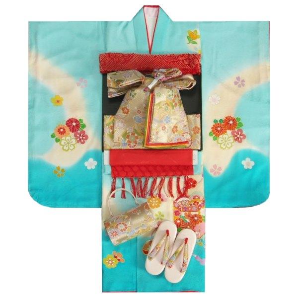 七五三 着物 7歳 正絹着物フルセット 濃淡水色ベージュぼかし 手描き 手染め 金コマ刺繍 金襴地重ね仕立て帯セット 足袋に腰紐など20点セット 日本製