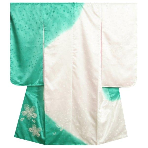 七五三 着物 7歳 女の子 四つ身着物 白地エメラルドグリーン色染め分け 銀駒刺繍 桜 吹雪桜地紋 日本製