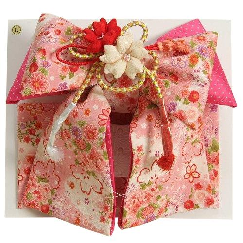 七五三着物用祝い帯 7歳用 ピンク地白ボカシ 桜 芍薬 ちりめん生地 飾り紐付き 大サイズ 日本製