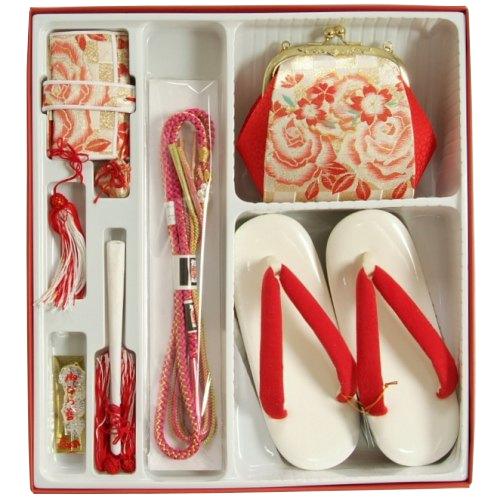 七五三 小物 着物用箱セコセット 7歳用 ゴールド市松柄 バッグに草履の付いた6点セット 日本製