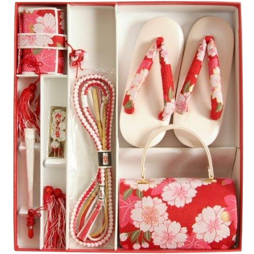 七五三 小物 着物用草履バッグ箱セコセット 7歳用 赤色 八重桜柄 七宝地紋生地 バックに草履の付いた6点セット 日本製