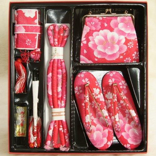 七五三 小物 着物用箱セコセット 7歳用 濃淡ピンクグラデーション 胡蝶蘭 牡丹 バッグに草履の付いた6点セット 日本製