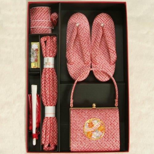 七五三に最適な草履バッグ筥迫セット 正絹 7歳 赤色 まり 四ツ巻総本絞り鹿の子生地 手染め 日本製