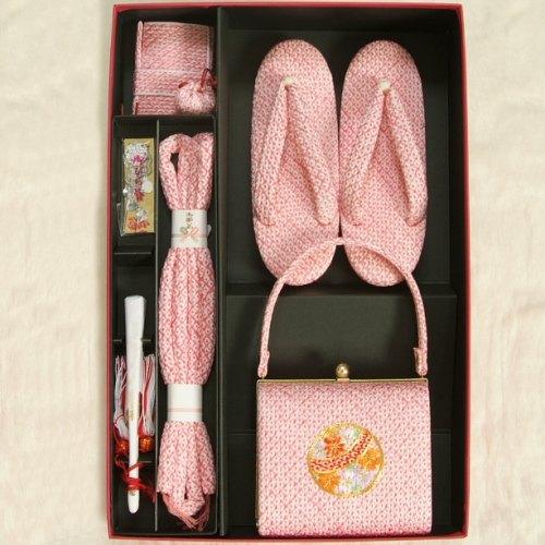 七五三に最適な草履バッグ筥迫セット 正絹 7歳 ピンク まり 四ツ巻総本絞り鹿の子生地 手染め 日本製