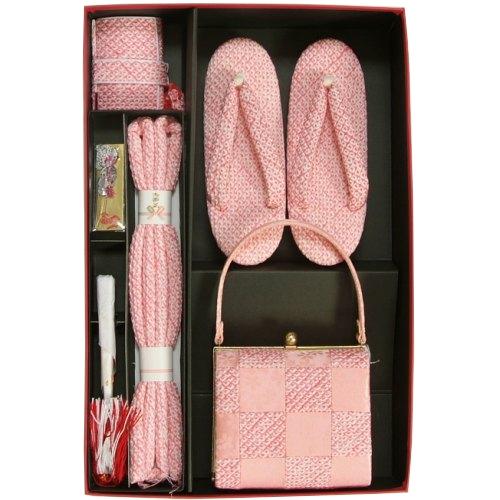七五三に最適な草履バッグ筥迫セット ハコセコセット 正絹 7歳 ピンク 市松 四ツ巻総本絞り鹿の子生地 手染め 日本製