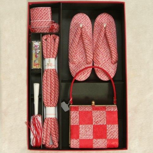 七五三に最適な草履バッグ筥迫セット 正絹 7歳 赤色 市松 四ツ巻総本絞り鹿の子生地 手染め 日本製