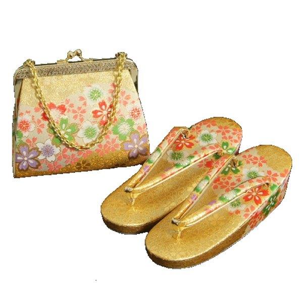 7歳用 七五三に最適な草履バッグセット 金襴地 四季桜文様 日本製