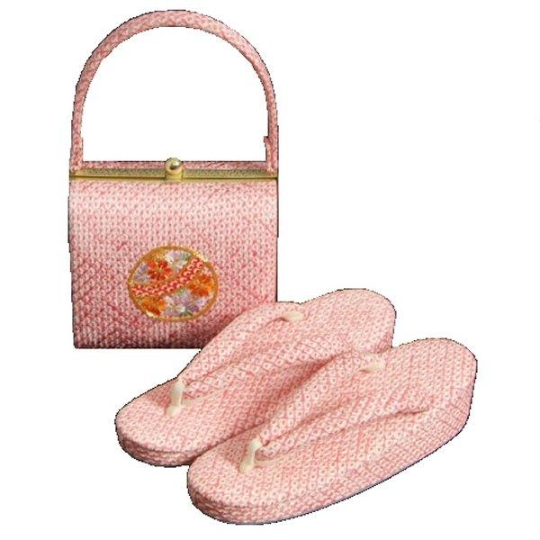 七五三に最適な草履バッグセット 正絹 7歳 ピンク まり 四ツ巻総本絞り鹿の子生地 手染め 日本製