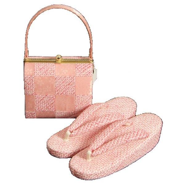七五三に最適な草履バッグセット 正絹 7歳 ピンク 市松 四ツ巻総本絞り鹿の子生地 手染め 日本製