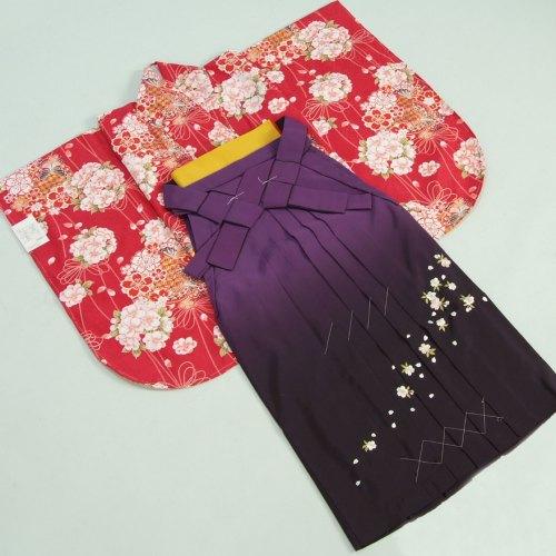卒業袴着物フルセット 卒業式 赤色地 桜 蝶 桜刺繍濃淡ボカシ袴 レンタルよりお値打ちな13点セット