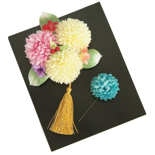 髪飾り 成人式 振袖 七五三着物 卒業袴 ピンク、白 牡丹菊 コーム・ピンタイプ 2点セット 手染め 日本製