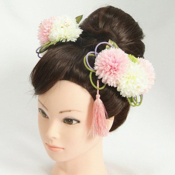 髪飾り 成人式 振袖 七五三着物 卒業袴 ドレスにも使えます 白 ピンク 3点セット コーム・ピンタイプ 日本製