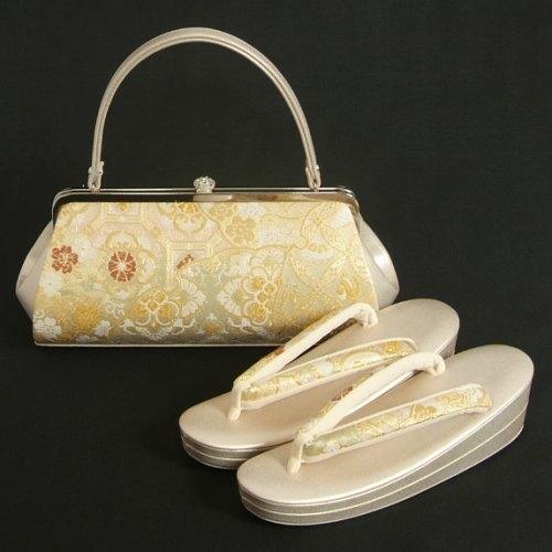 草履バッグセット 振袖 訪問着 西陣織正絹生地使用 ゴールド 七宝 唐花 横長バッグ フリーサイズ 二枚芯 日本製