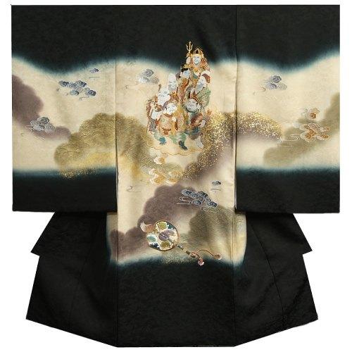 お宮参り 着物 男の子 正絹 男児初着 黒 総刺繍七福神 金彩金糸刺繍 まだら地紋 日本製