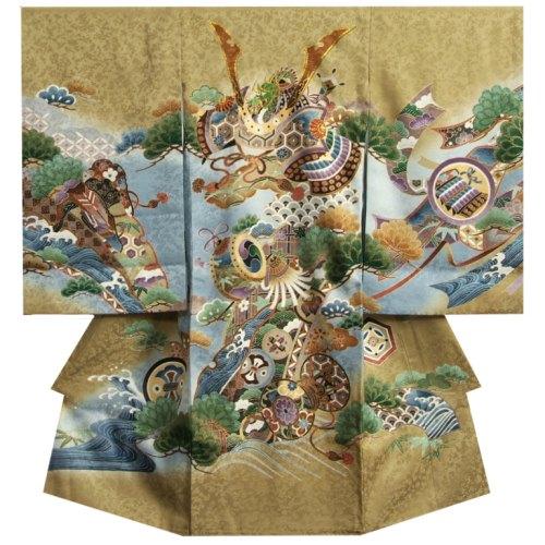 お宮参り着物 正絹男児初着 男の子用産着 濃ベージュ 兜 松竹梅 金糸刺繍使い まだら紋