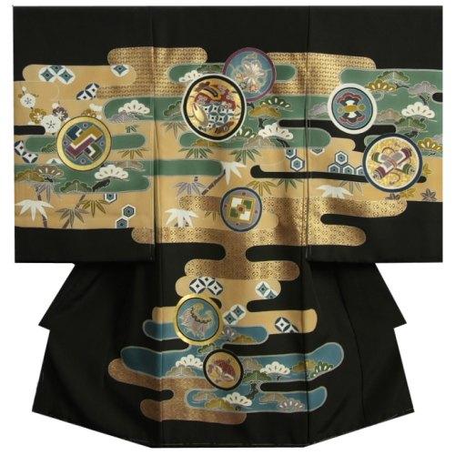 お宮参り 着物 男 正絹初着 黒 小槌 松竹梅 手描き 金彩使い 変わり無地生地 日本製