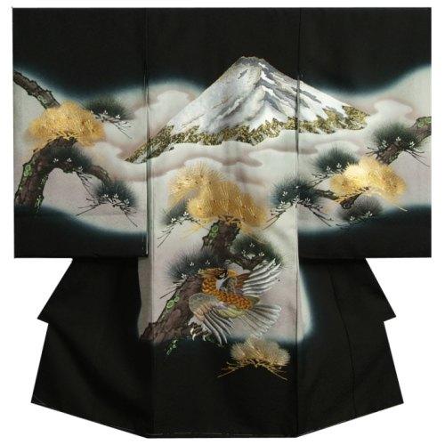 お宮参り着物 正絹男児初着 黒 刺繍富士山 鷹 手描き 金括り松 ふくれ生地 日本製