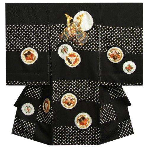 お宮参り 着物 男 正絹男児初着 黒地 刺繍兜 金コマ刺繍使い 本絞り市松 紋意匠生地 日本製
