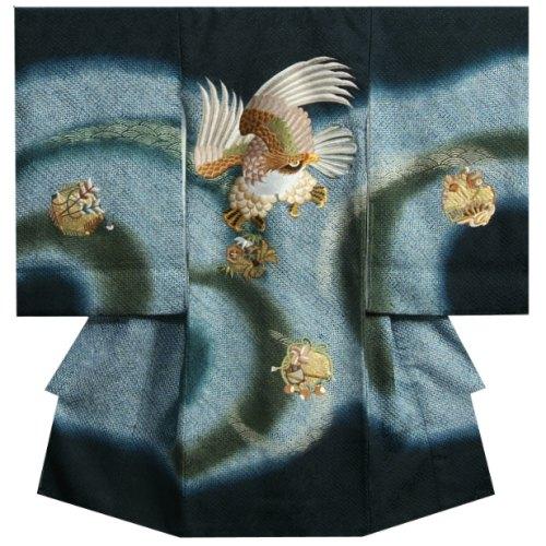 お宮参り着物 正絹男児初着  紺地濃淡青色ぼかし染分け 総刺繍鷹 総手本絞り 日本製
