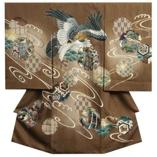 お宮参り 着物 男の子 正絹初着 茶色 鷹 刺繍使い 雪輪御所車 紋意匠生地 日本製