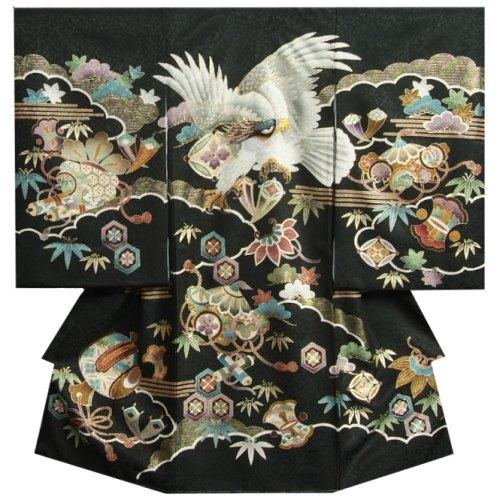 お宮参り 着物 男 正絹初着 男の子用産着 黒 白鷹 刺繍使い 宝尽くし まだら地紋 日本製